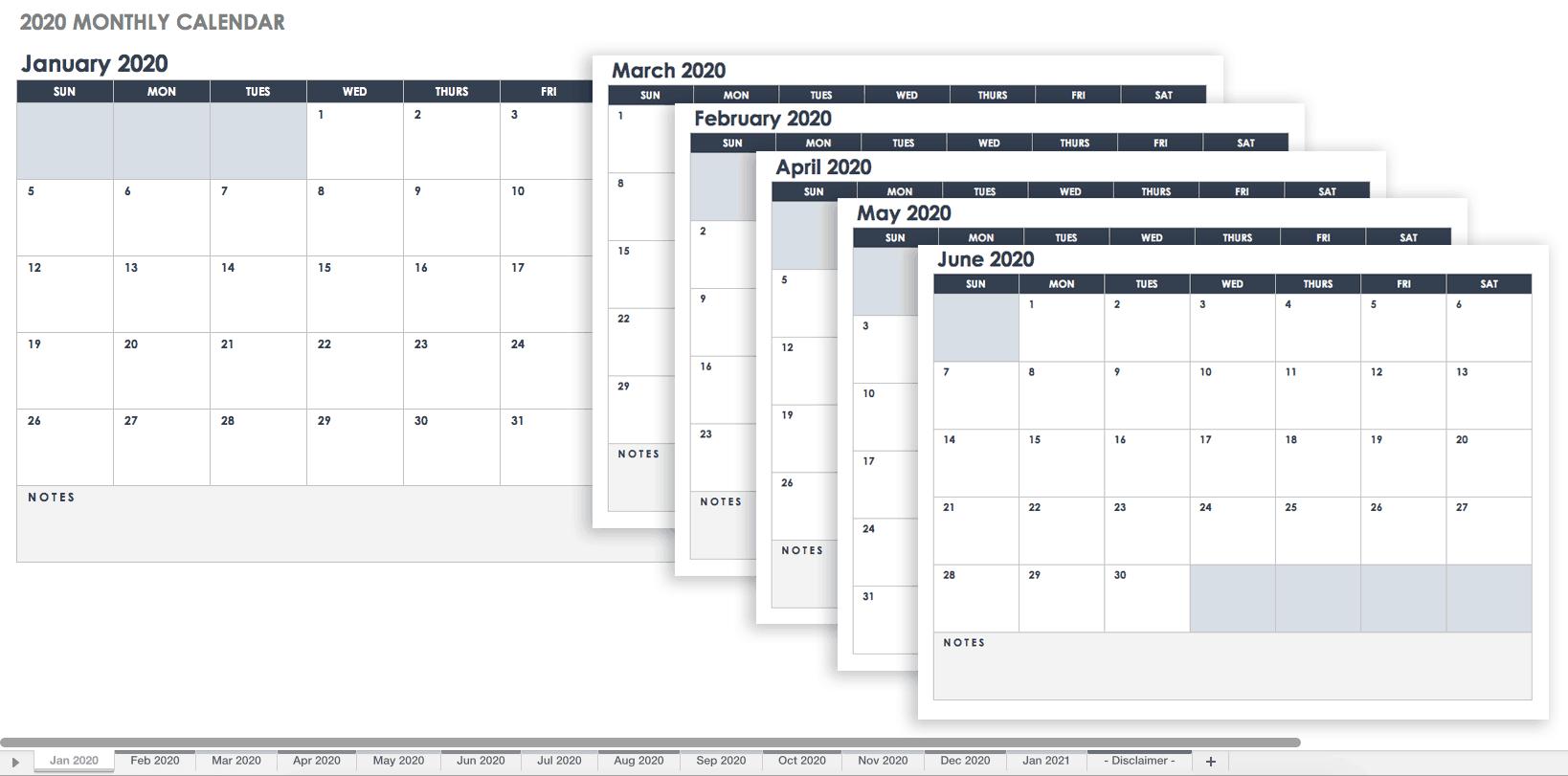 2020 Monthly Calendar Landscape Google