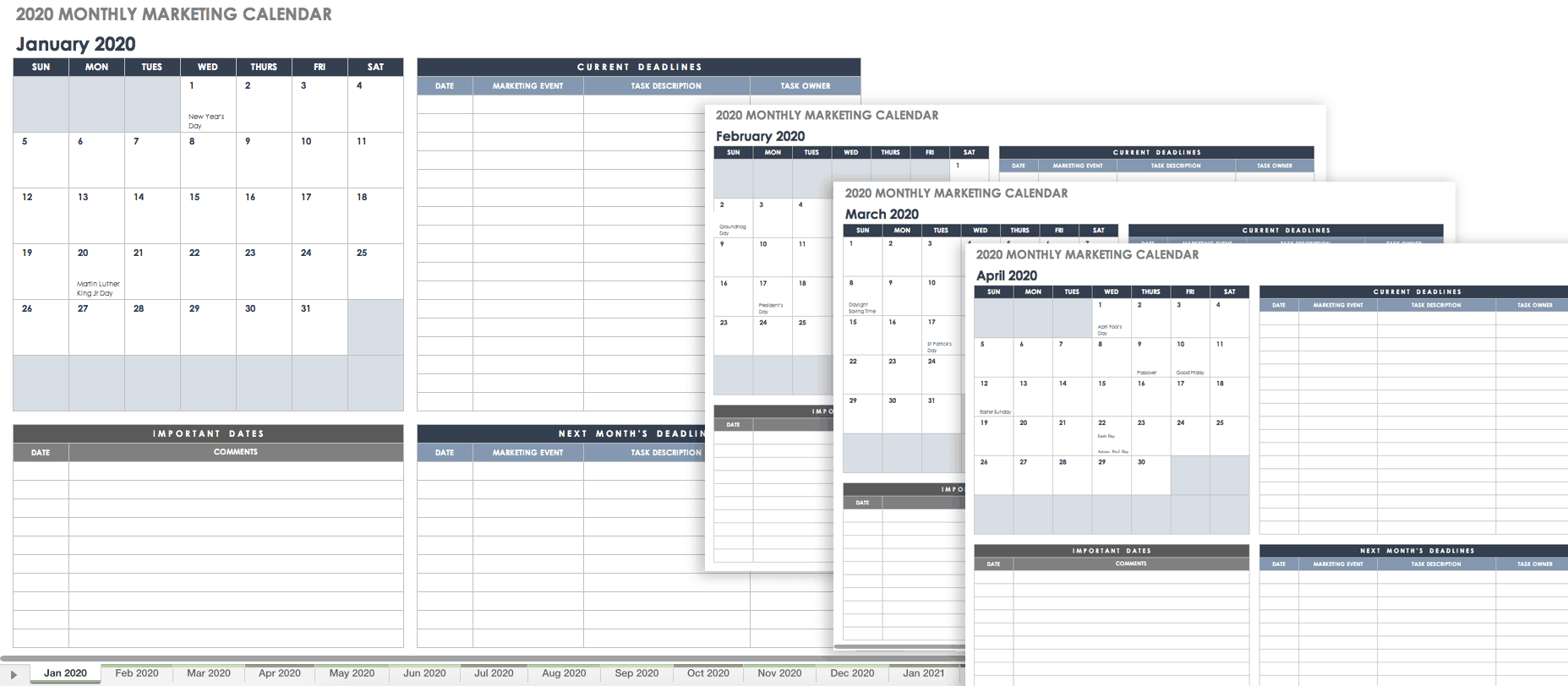 Calendario In Excel 2020.9 Free Marketing Calendar Templates For Excel Smartsheet