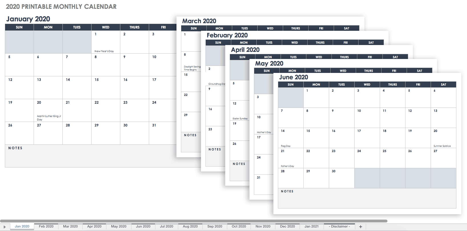 graphic relating to Printable Monthly Calendars known as 15 Cost-free Every month Calendar Templates Smartsheet