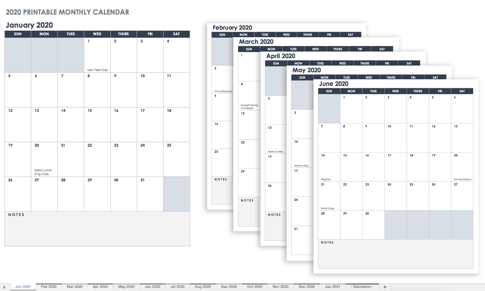 graphic relating to Monthly Printable Calendar titled 15 Totally free Every month Calendar Templates Smartsheet