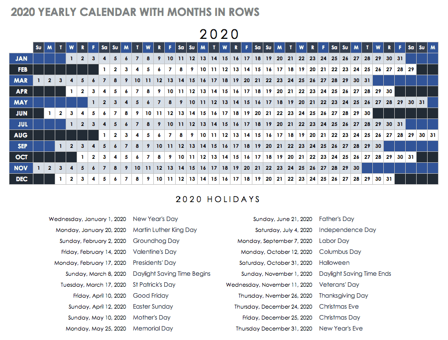 2020 Yearly Calendar Template with Months in Rows