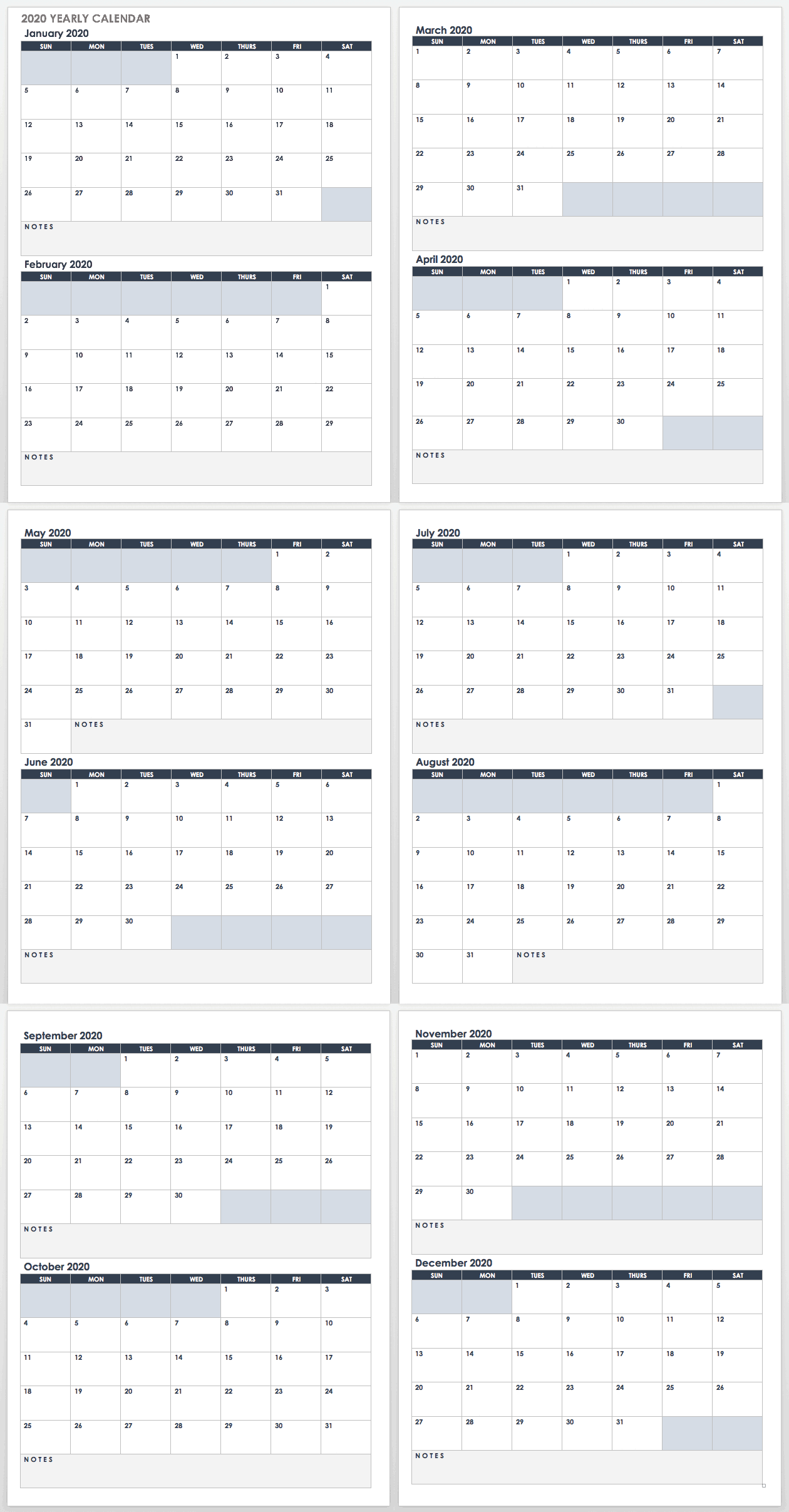 2020 Yearly Calendar Template Google Landscape