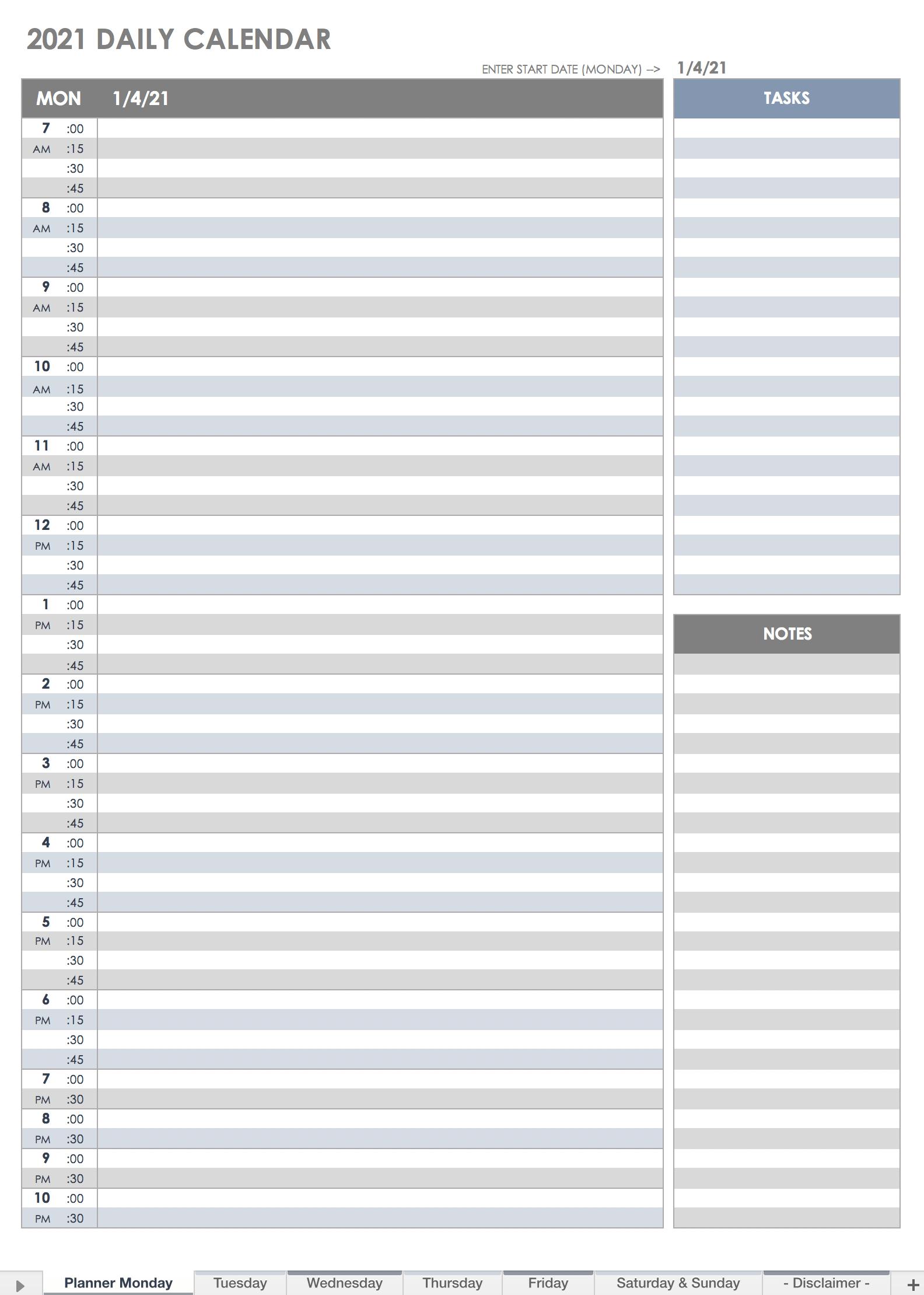 Free Printable Daily Calendar Templates Smartsheet