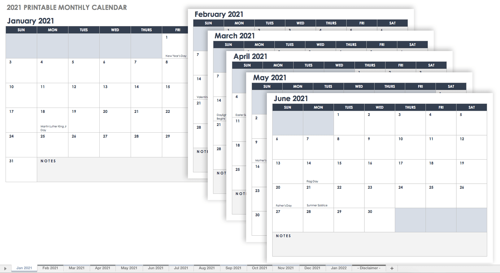 2021 Printable Monthly Calendar - Portrait