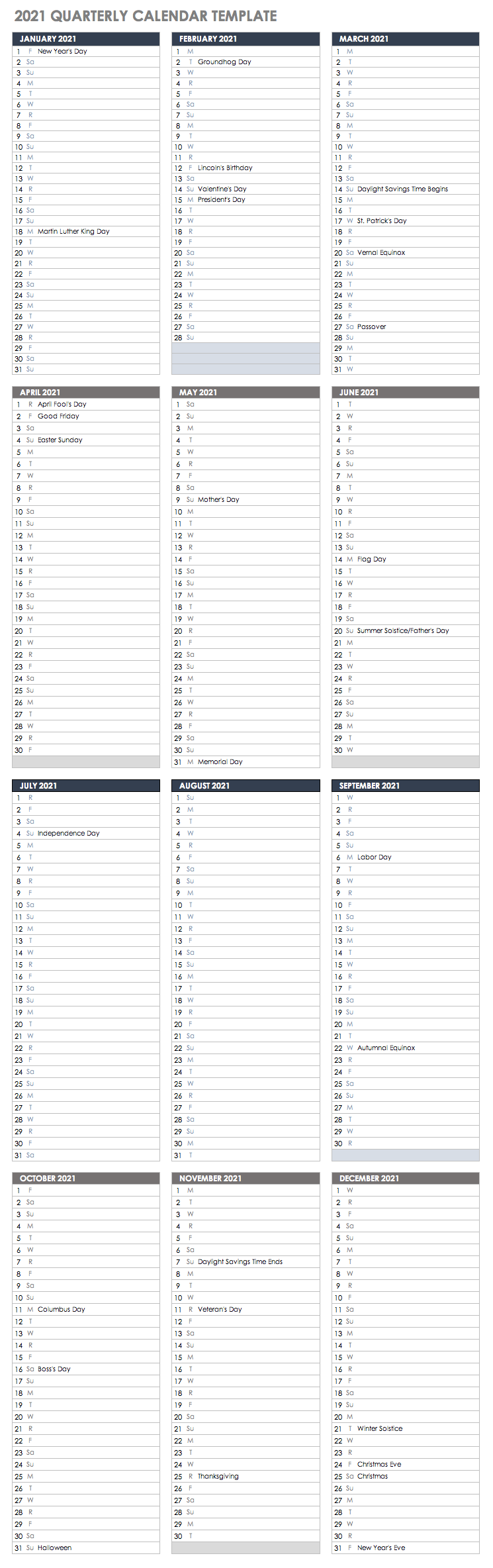 2021 Quarterly Calendar Template