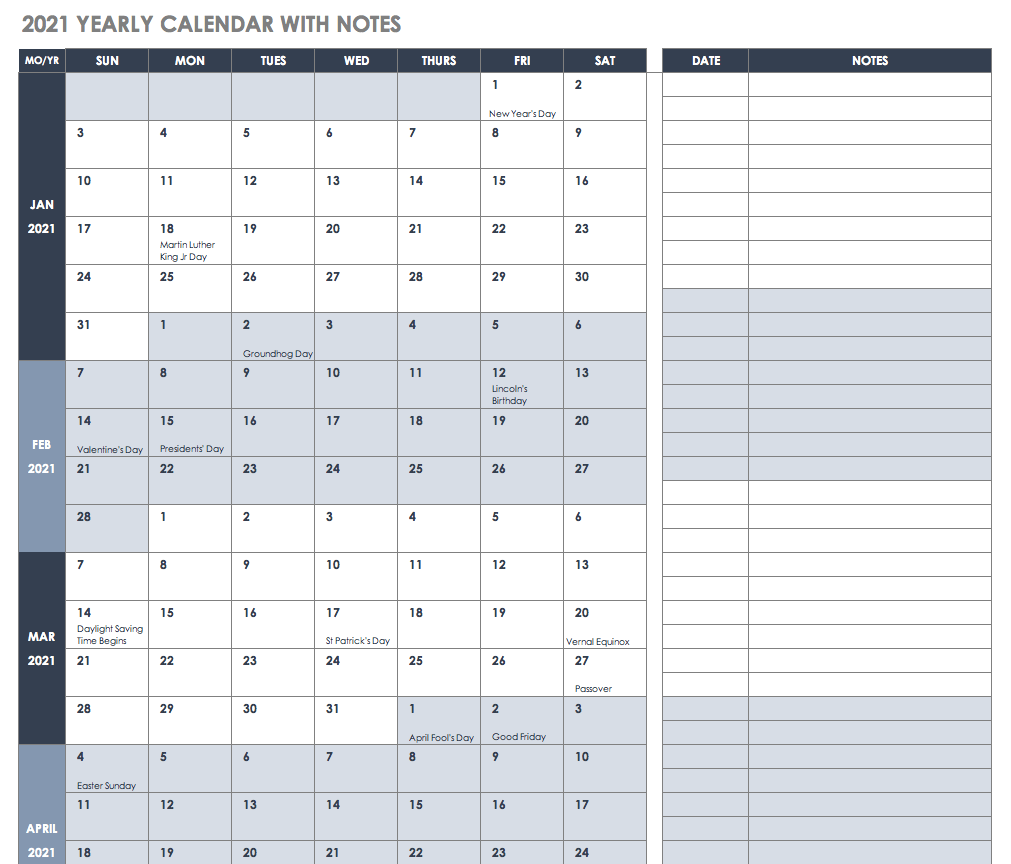 2021 Yearly Calendar with Notes Template