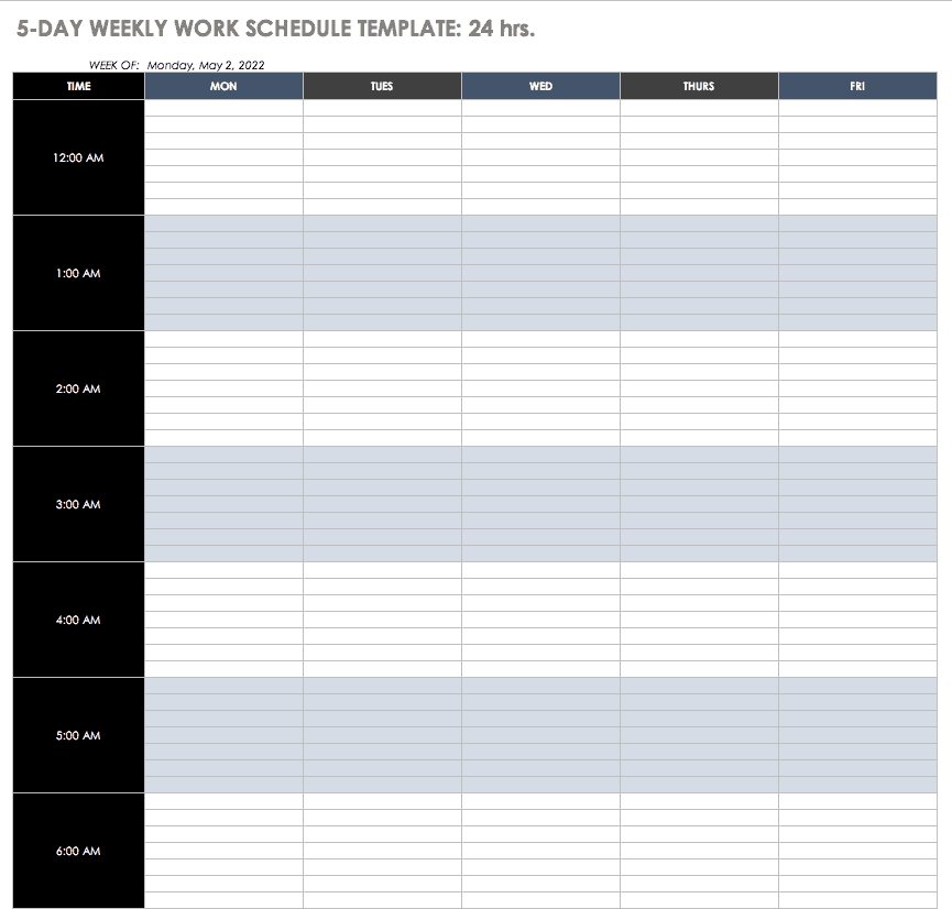 5-Day 24h Weekly Work Schedule Template