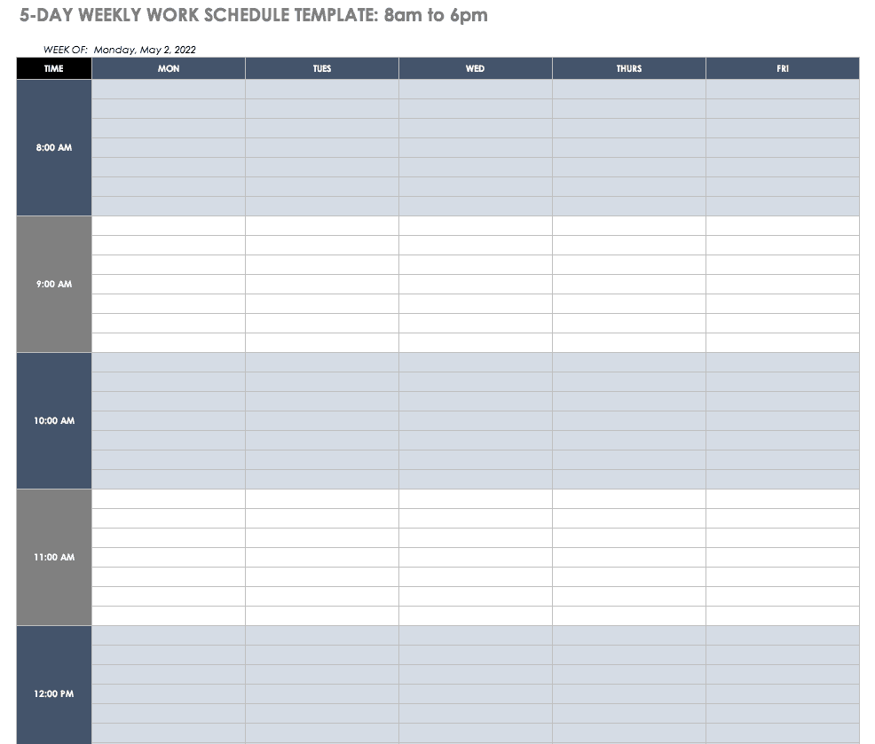 5-Day 8-6 Weekly Work Schedule Template