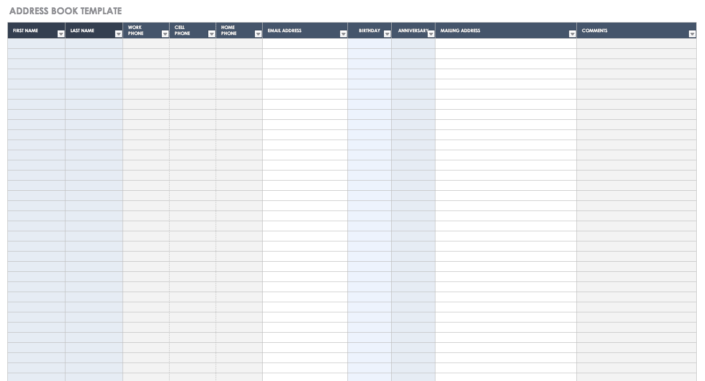 Free Contact List Templates Smartsheet