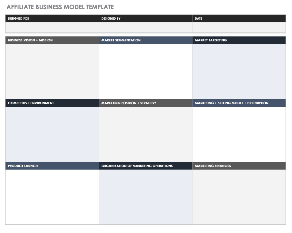 Affiliate Business Model Template