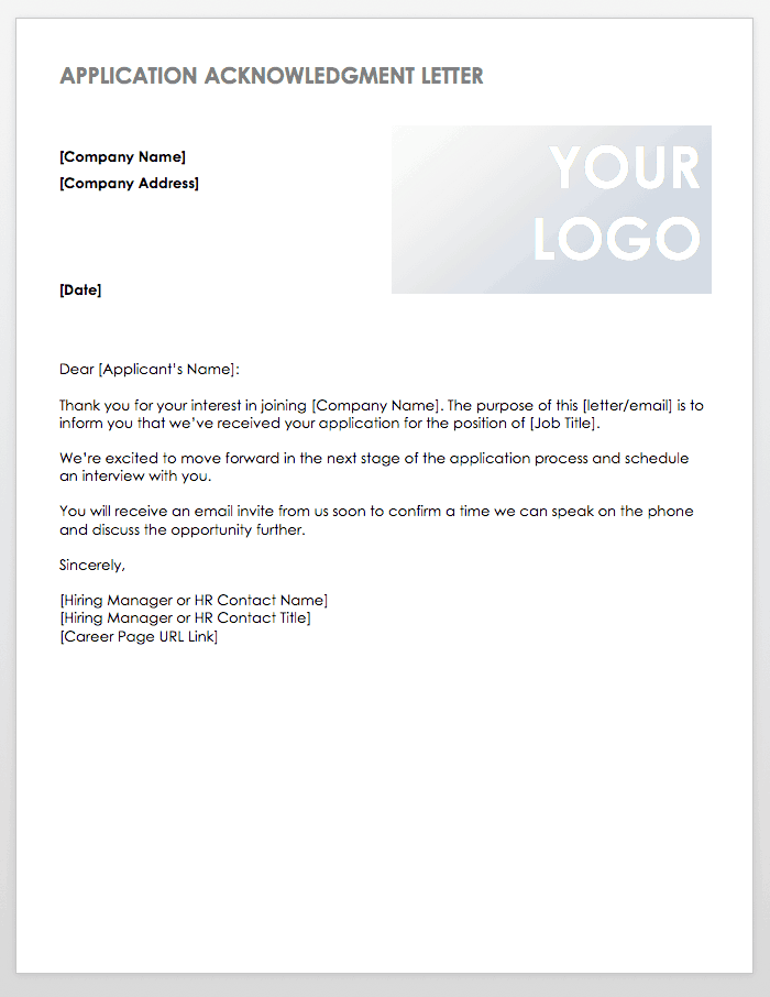Application Acknowledgment Letter Template