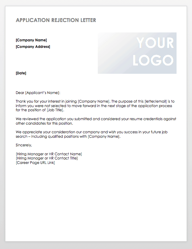 Application Rejection Letter Template