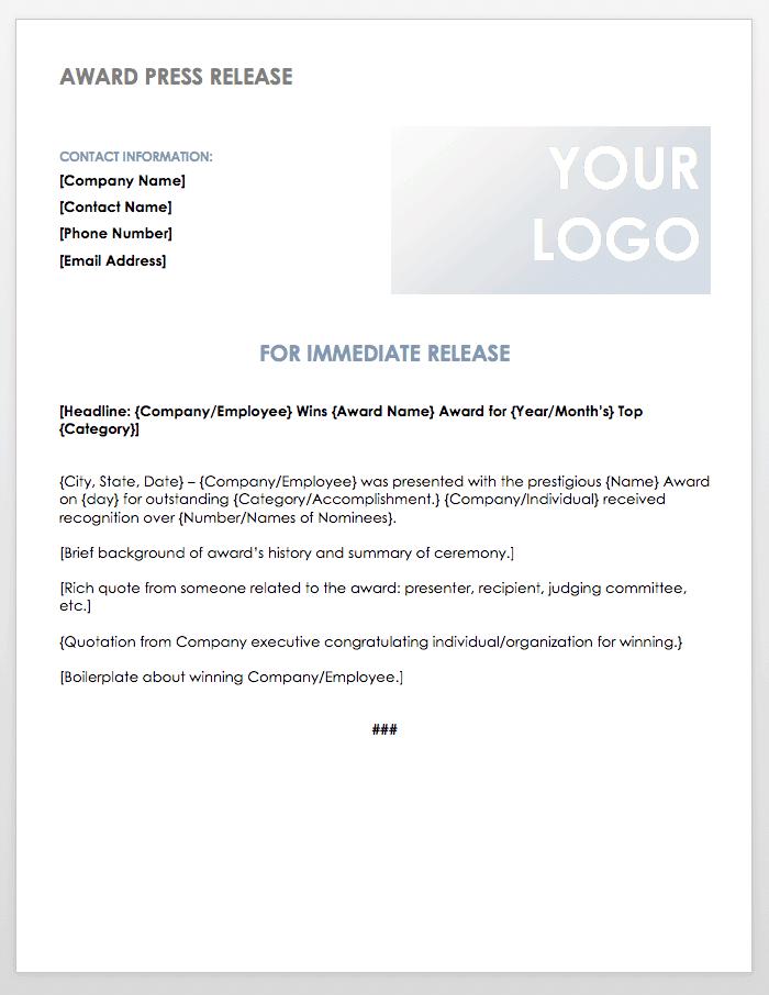 Award Press Release