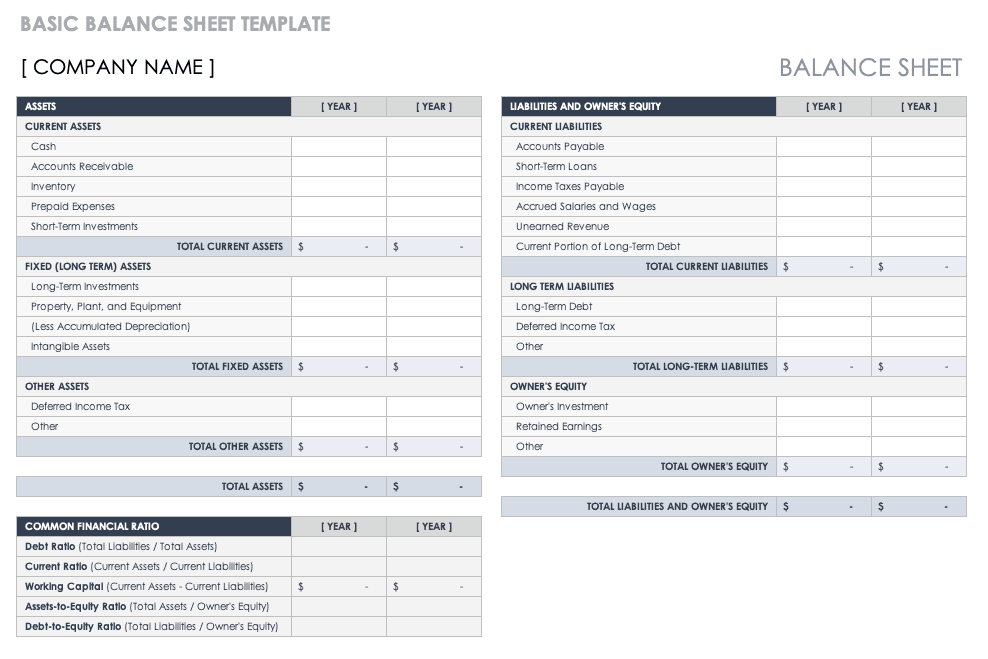 Basic Balance Sheet Template
