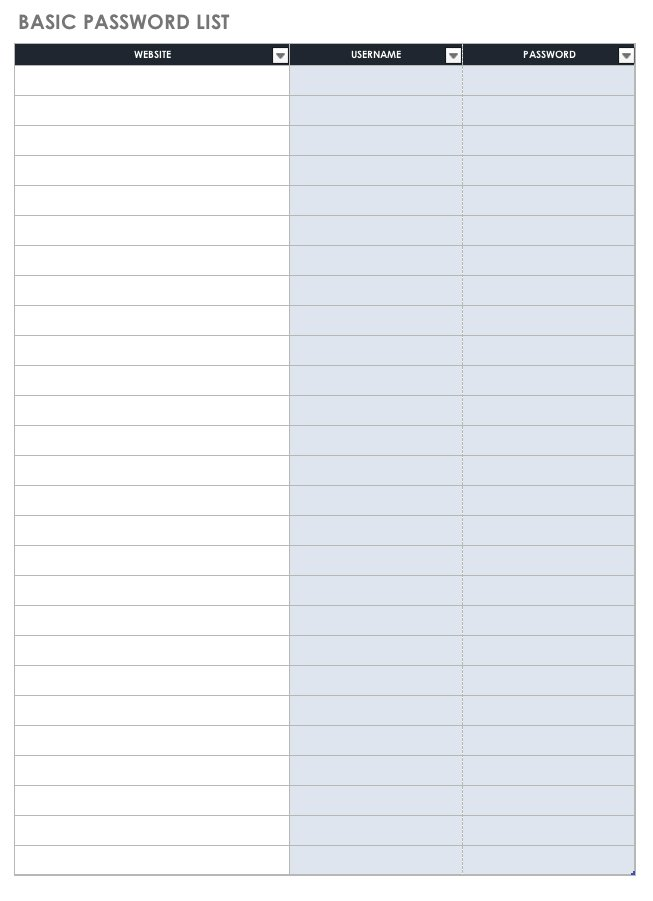 graphic relating to Free Password Keeper Template Printable identified as Free of charge Pword Templates and Spreadsheets Smartsheet