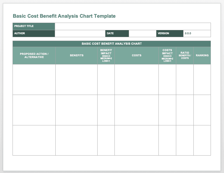 project cost analysis template