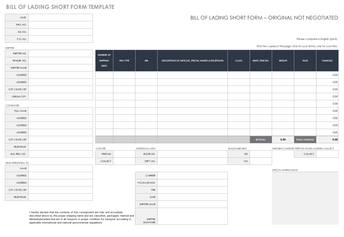photo regarding Printable Bill of Lading Form named No cost Invoice of Lading Templates Smartsheet