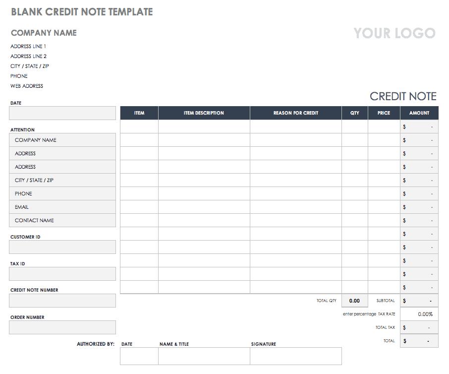 Free Credit and Debit Note Templates | Smartsheet