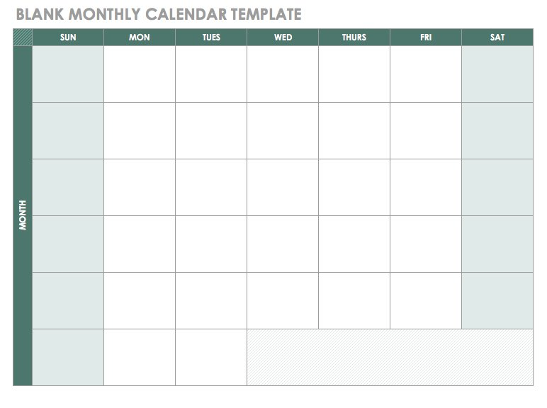 2018 Blank Monthly Calendar Template