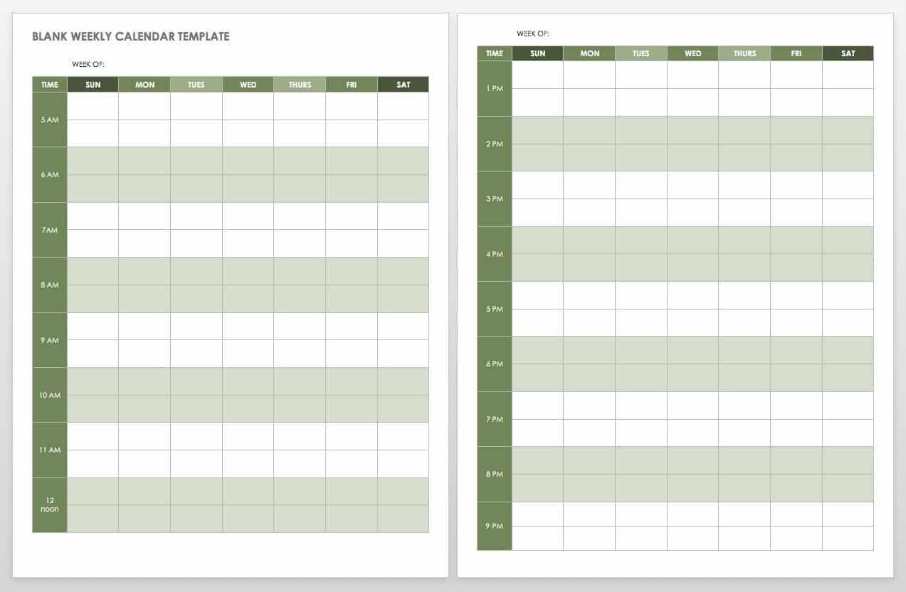 Blank Weekly Calendar Portrait Template
