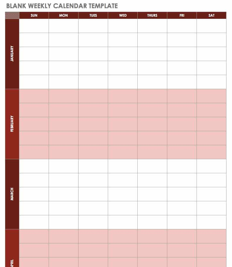 photograph regarding Blank Weekly Calendar Template identify 15 Absolutely free Weekly Calendar Templates Smartsheet