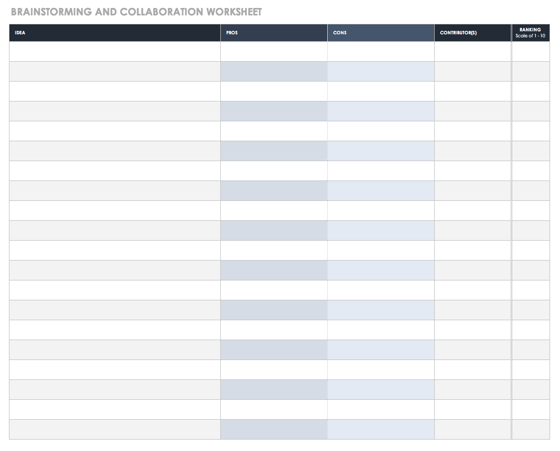 Brainstorming and Collaboration Worksheet Template