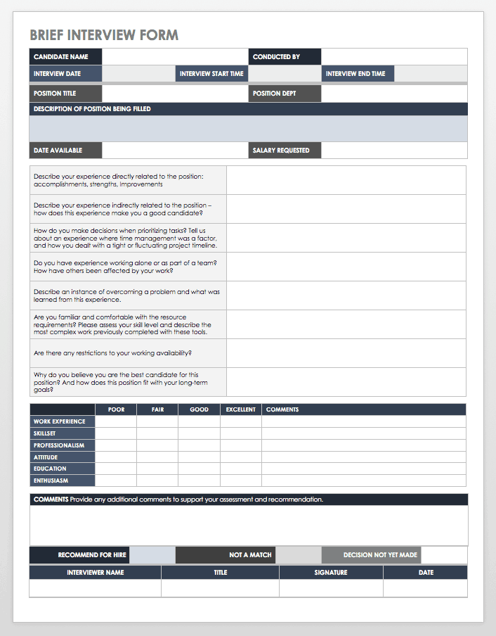 This Job Interview Form Covers The Basics On A Single Page With Room For Questions Brief Evaluation And Notes Or Recommendations