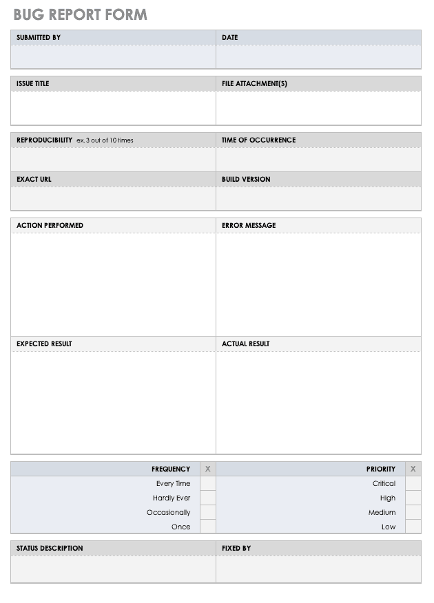 Bug Report Form Template