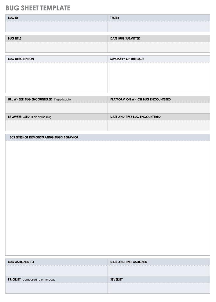 Bug sheet Template