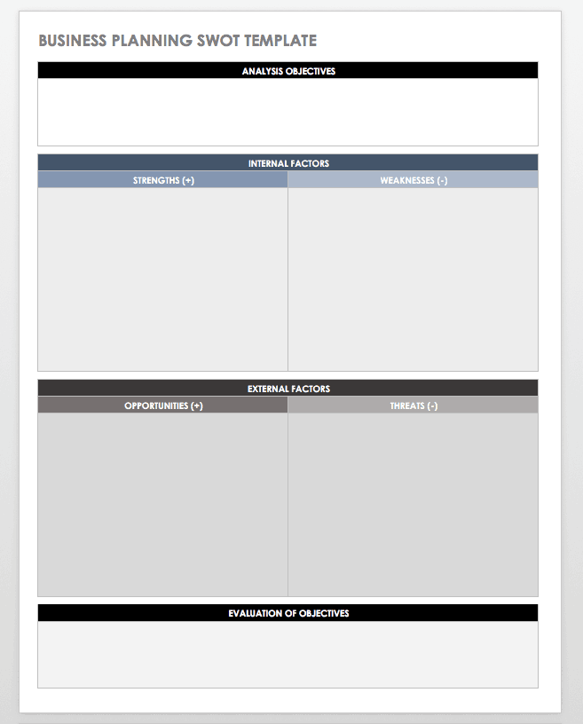 Business Planning SWOT Template