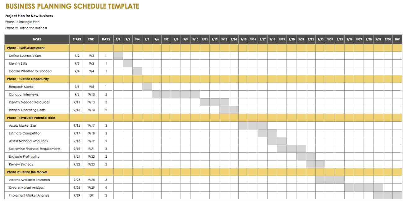 Business Planning Schedule Template