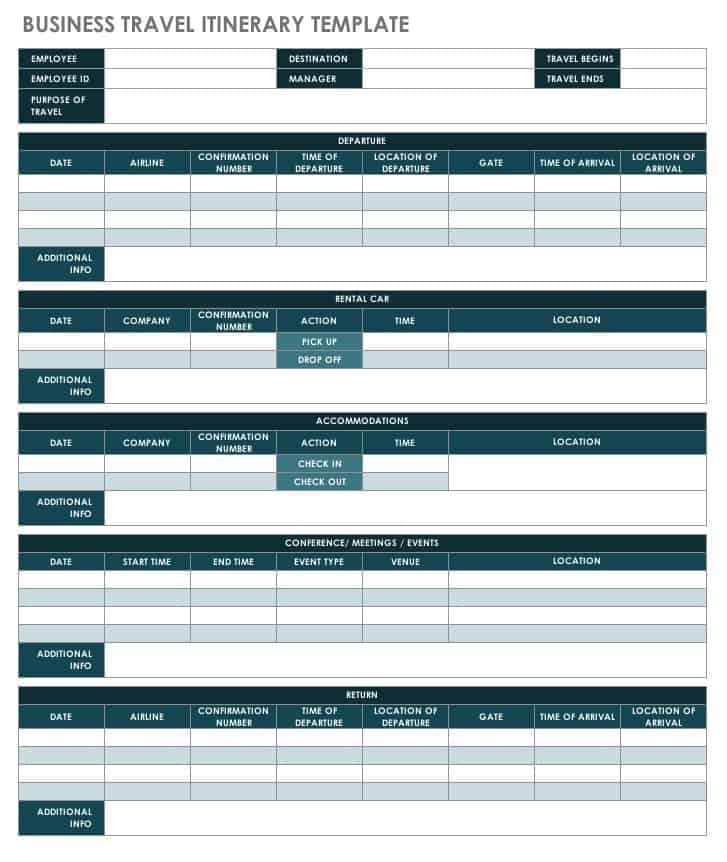 accommodations rental car details and meetings or events with this business travel itinerary this is a google sheets itinerary template