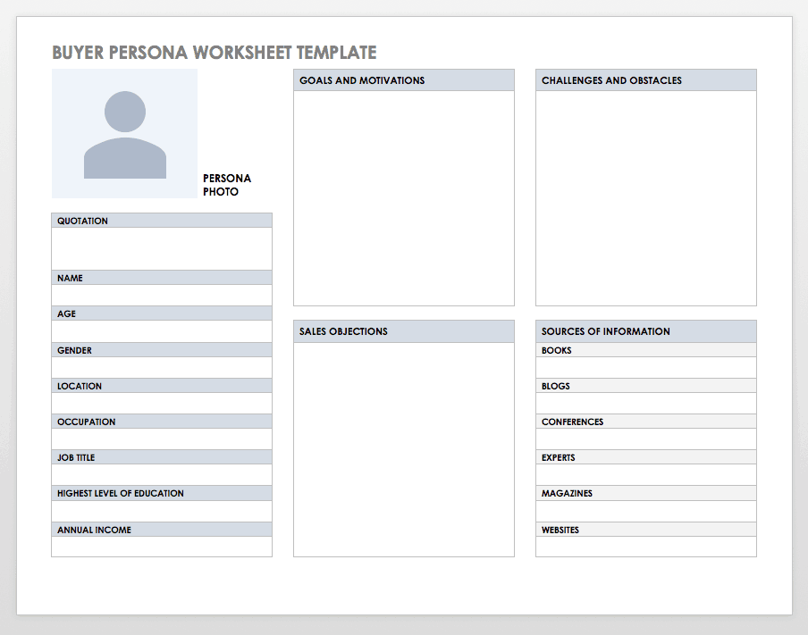 Buyer Persona Worksheet Template