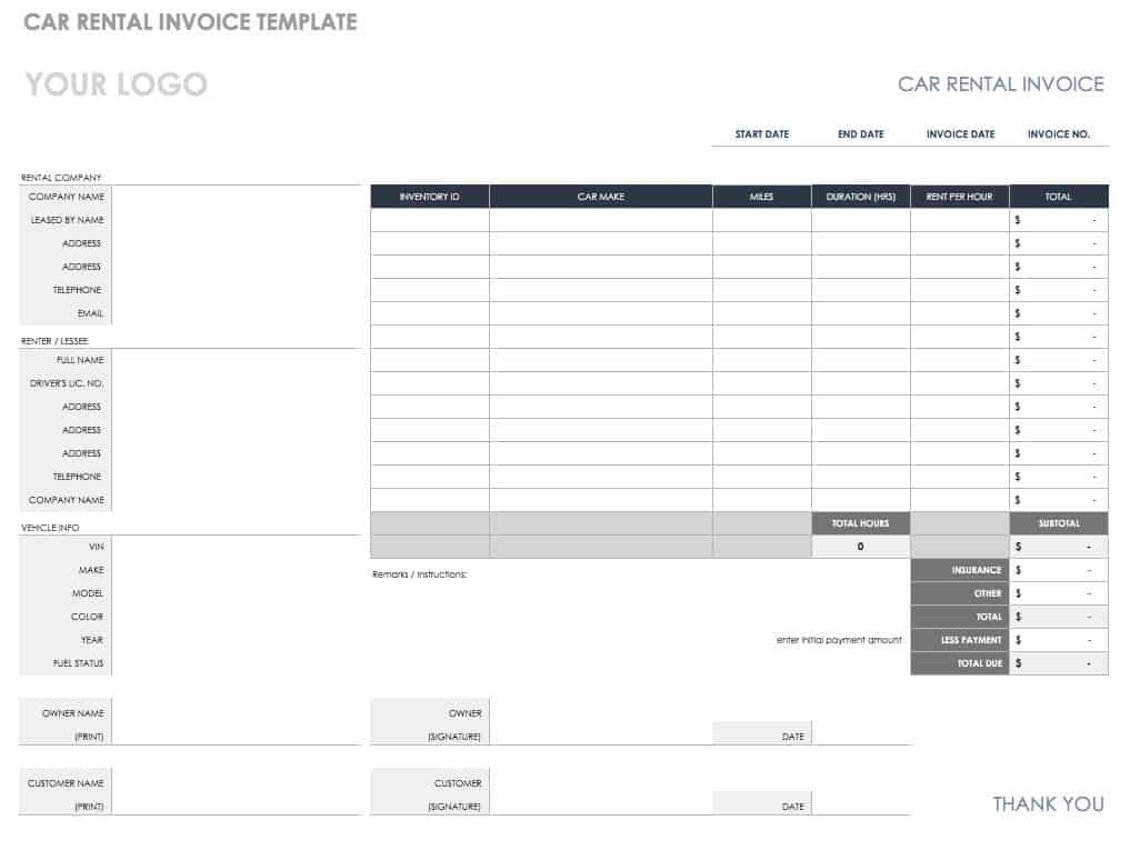 CAr Rental Invoice Template