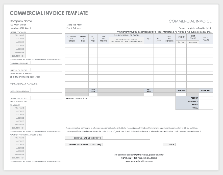 It's just a photo of Printable Commercial Invoice for commercial receipt