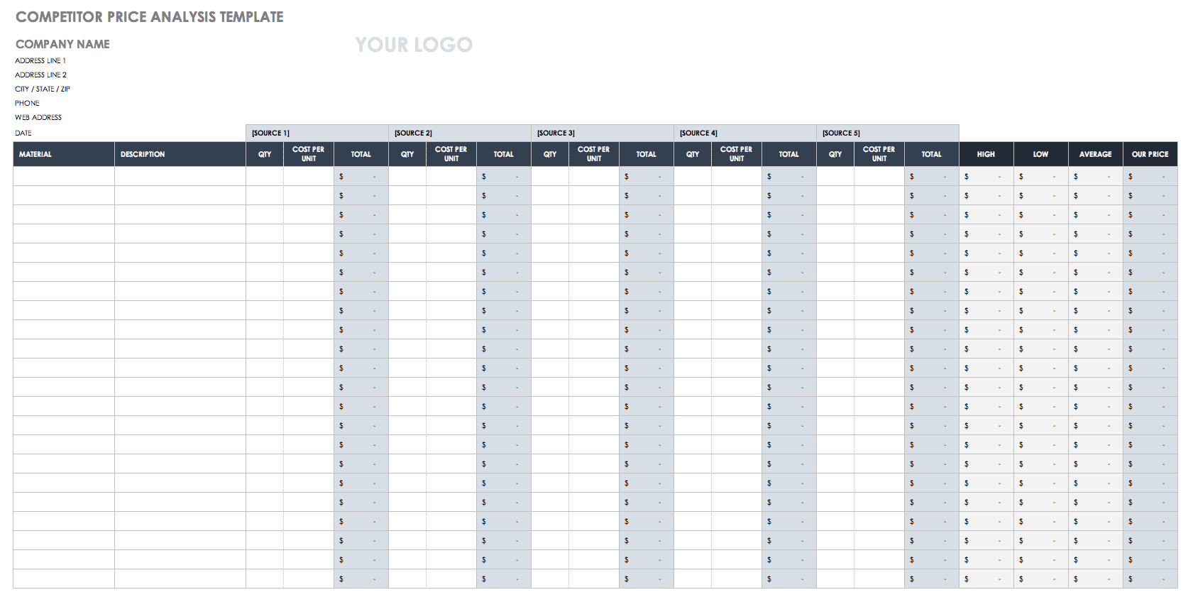 Free Price Comparison Templates