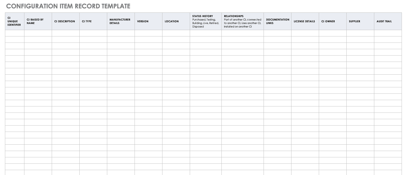 Configuration Item Record Template