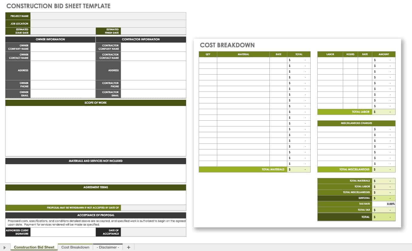 Free Construction Bid Templates Smartsheet