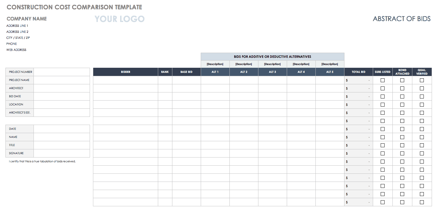 Free Price Comparison Templates Smartsheet