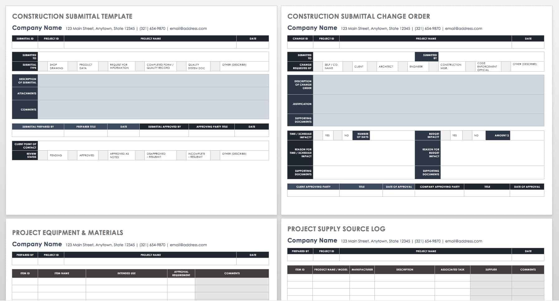 Construction Submittal Template