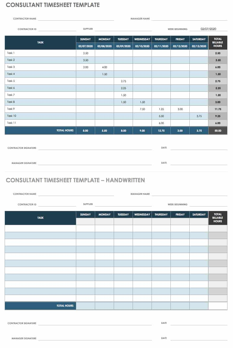 21 Free Timesheet and Time Card Templates  Smartsheet With Weekly Time Card Template Free