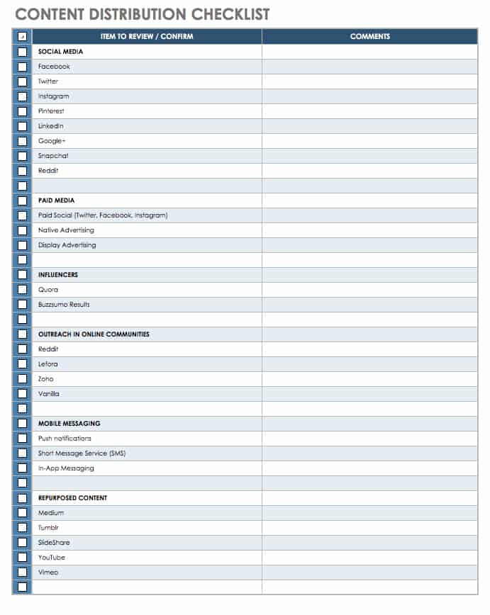 Content Distribution Checklist Template