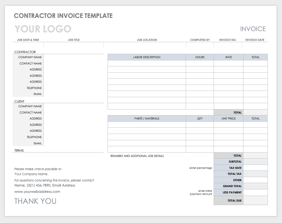 Free Ms Word Invoices Templates Smartsheet