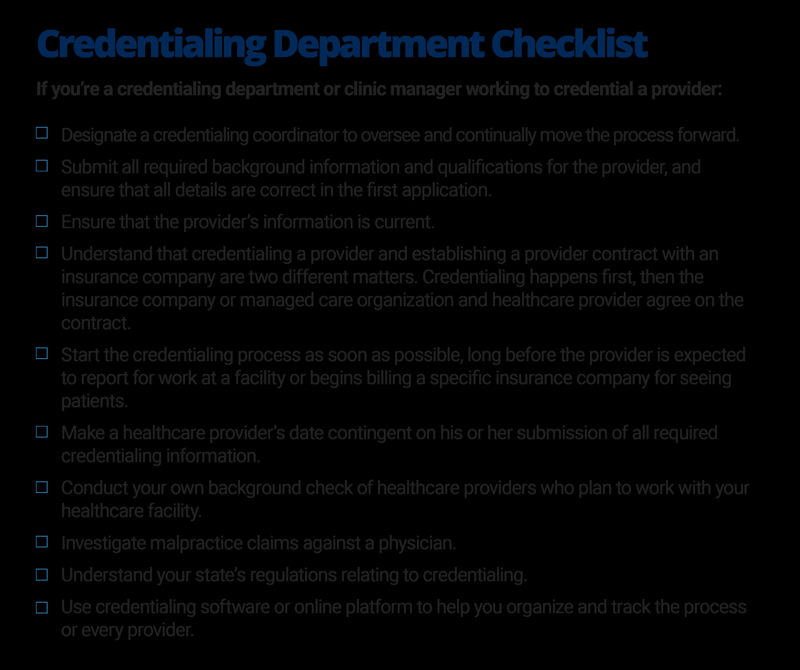 Credentialing Department Checklist