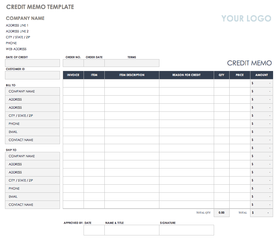 Free Credit And Debit Note Templates Smartsheet