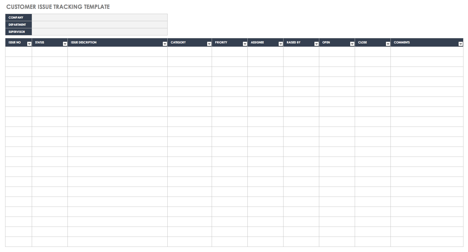 Customer Issue Tracking Template