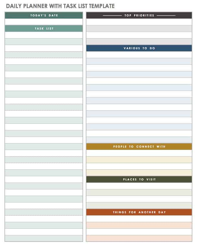 photo relating to Daily Planner Template called No cost Printable Each day Calendar Templates Smartsheet