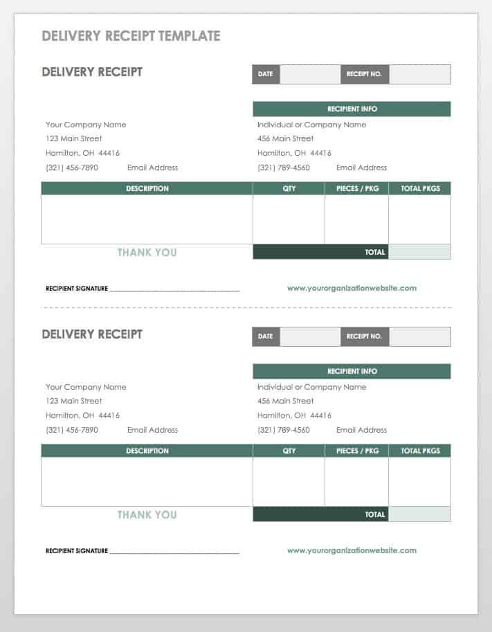 Delivery Receipt Templates