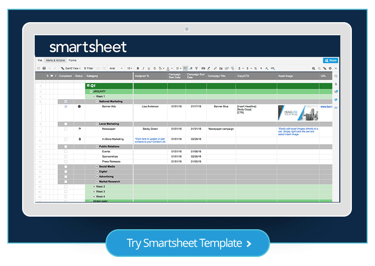 Free marketing plan templates for excel smartsheet marketing plan template smartsheet maxwellsz