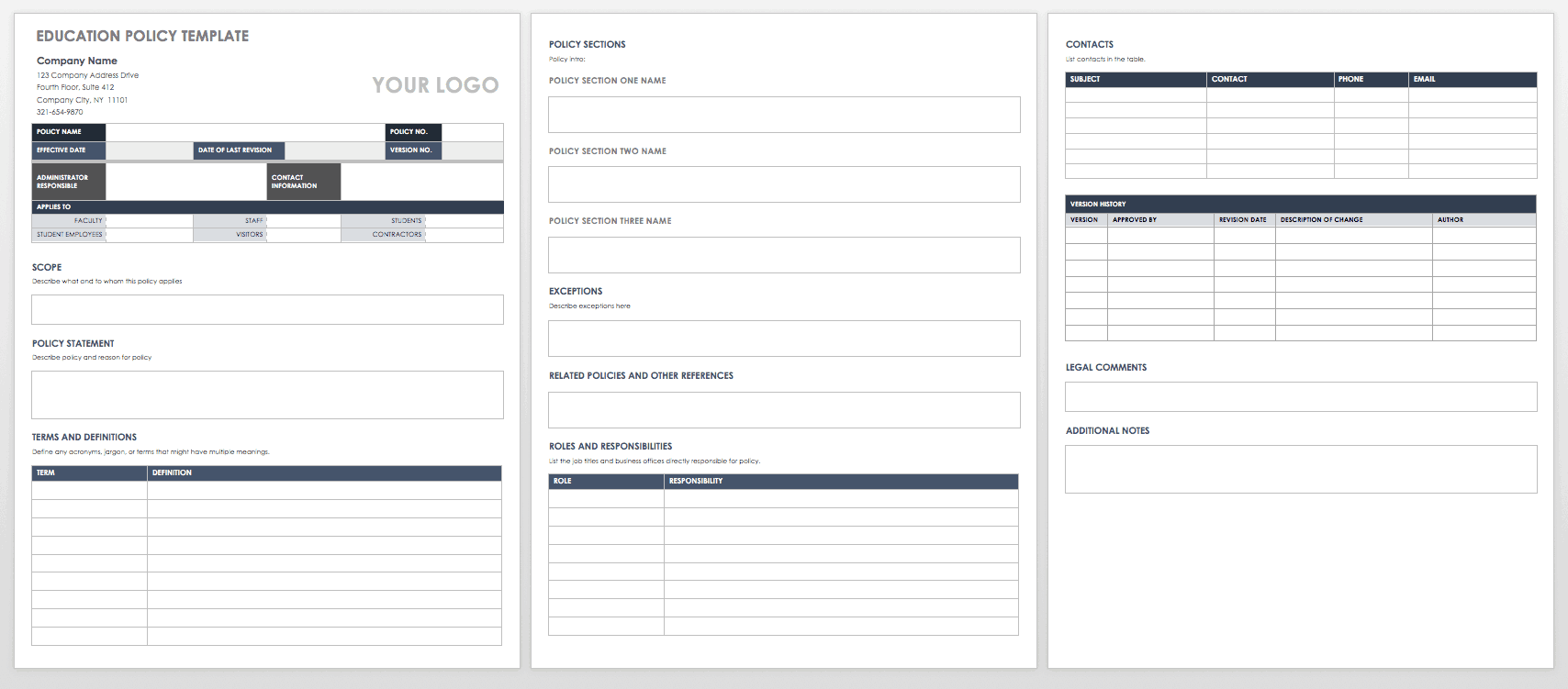 Policy And Procedure Manual Template Free from www.smartsheet.com